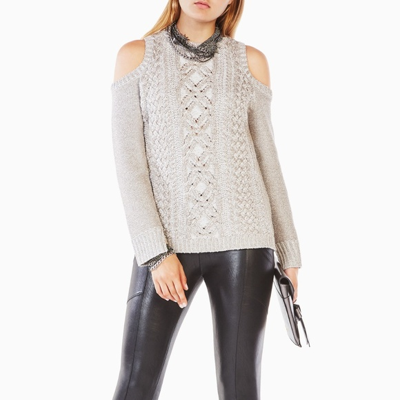 Sparkly cold shoulder cable knit sweater